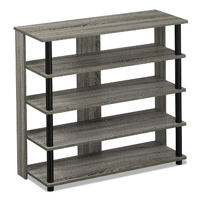 furinno turn n tube 5 tier wide wooden shoe rack shelf closet organizer for home entryways living rooms and mud rooms french oak grey