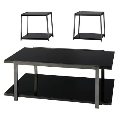 3pc rollynx coffee and end table set black signature design by ashley