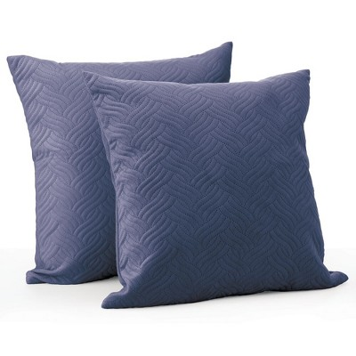 mdesign decorative quilted velvet pillow case cover 20 x 20 2 pack navy