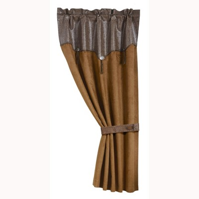saverio abienen embossed leather dark tan curtain with leather tie back matching bottom 48 x 84 brown