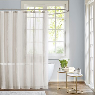 angie sheer shower curtain white