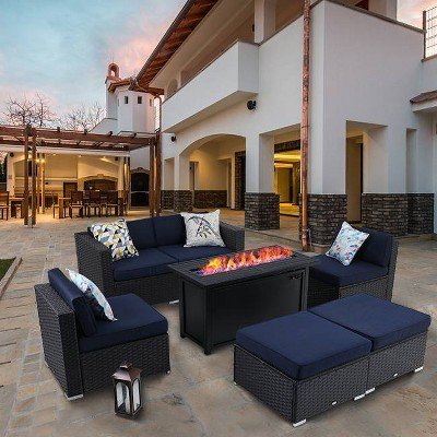 7pc outdoor conversation set with wicker sofa rectangular gas fire pit table captiva designs