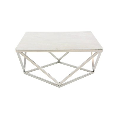 square marble coffee table with stainless steel base white olivia may