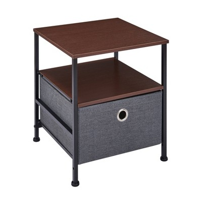 modern end side table with shelf and fabric storage drawer gray danya b