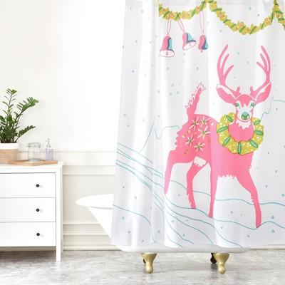 holiday deer shower curtain pink deny designs