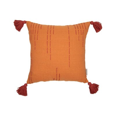 orange hand woven 18 x 18 inch decorative cotton throw pillow cover with insert and hand tied tassels foreside home garden