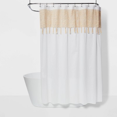 macrame inset with wood bead tassels shower curtain white beige opalhouse
