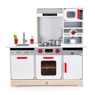 hape e3145 all in 1 kids toddler wooden pretend play kitchen set with oven stove sink microwave coffee maker dish washer fridge and accessories