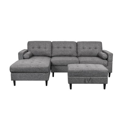 3pc florentia chaise sectional sofa set with storage ottoman charcoal christopher knight home