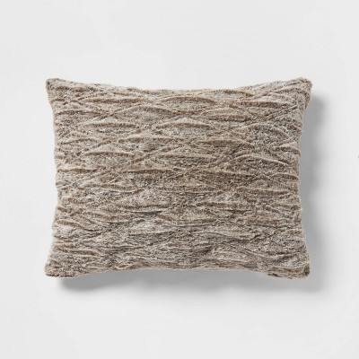 standard ruched faux fur pillow case brown threshold