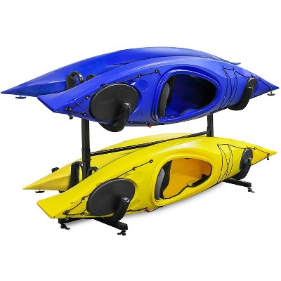 raxgo freestanding kayak rack for 4 heavy duty floor storage holder for four kayak sup canoe paddleboard for indoor outdoor garage shed or