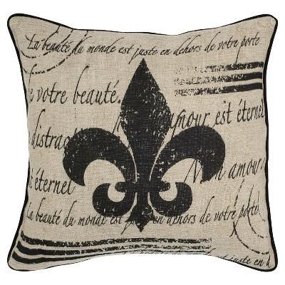 18 x18 vintage fleur de lis cotton and jute throw pillow beige black rizzy home