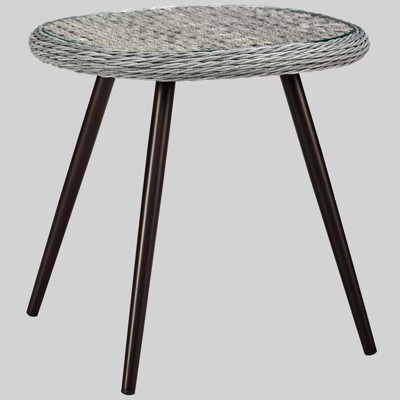 endeavor outdoor wicker patio side table gray modway