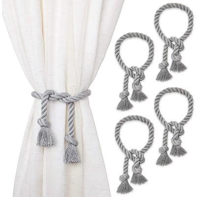 4 pack gray cotton window curtain tiebacks tie back 29 holdbacks rope for drapes