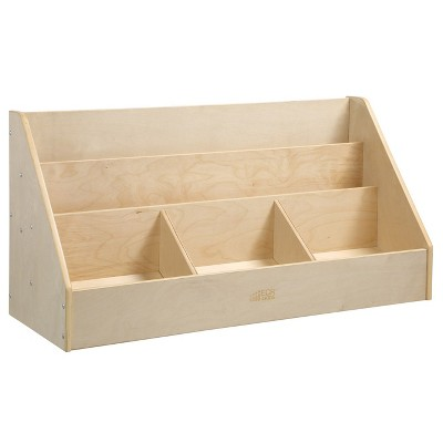 ecr4kids birch 5 compartment easy to reach book display toddler wooden book storage rack natural