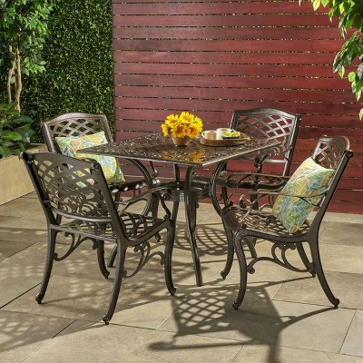 hallandale 5pc cast aluminum square patio dining set hammered bronze christopher knight home