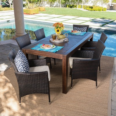lincoln 7pc acacia wood wicker patio dining set dark brown christopher knight home
