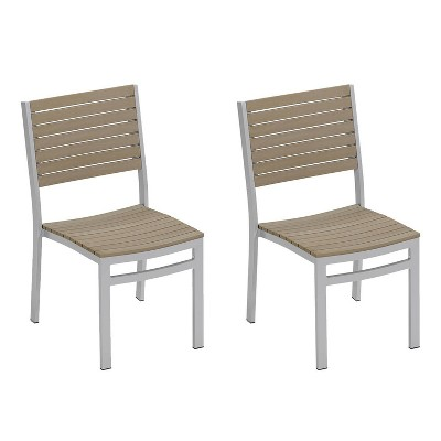 travira set of 2 patio dining chairs powder coated aluminum frame vintage tekwood seat oxford garden