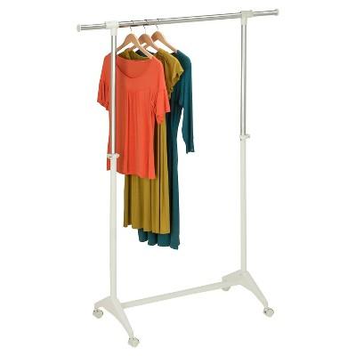honey can do adjustable height garment rack white
