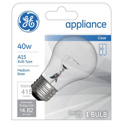 general electric 40w a15 appliance incandescent light bulb white