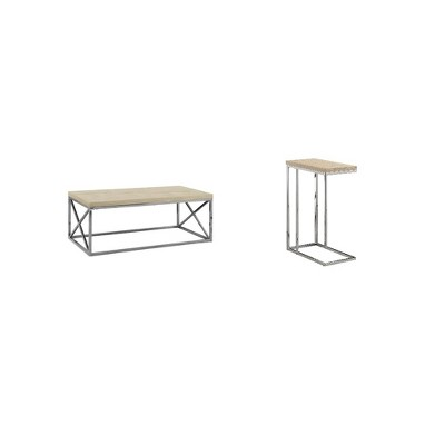 monarch natural wood look chrome designer coffee table accent side end table