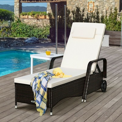 costway outdoor chaise lounge chair recliner cushioned patio furniture adjustable wheels