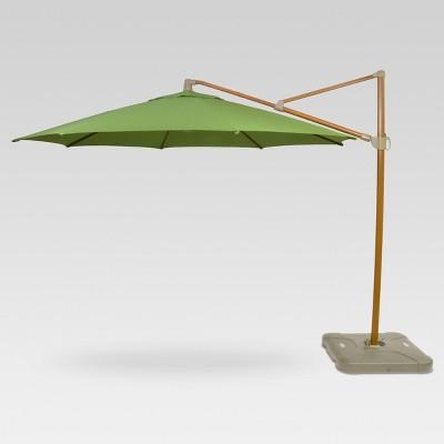 11 offset umbrella green medium faux wood finish threshold