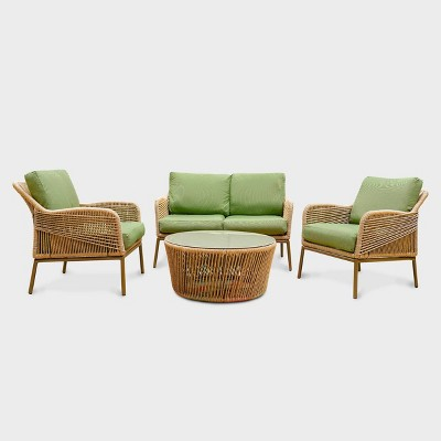 terrell 4pc wicker patio seating set green leisure made leisure made