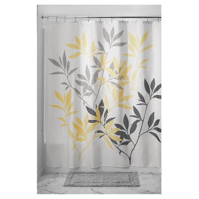 leaves shower curtain yellow gray idesign