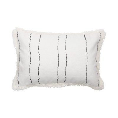 white and black 14 x 22 inch decorative cotton throw pillow cover with insert and hand tied fringe foreside home garden