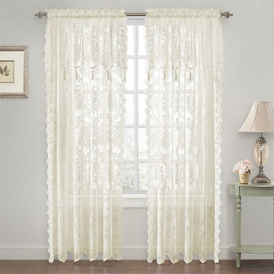 goodgram shabby chic lace curtain panels with attached valance 52 in w x 84 in l ivory off white