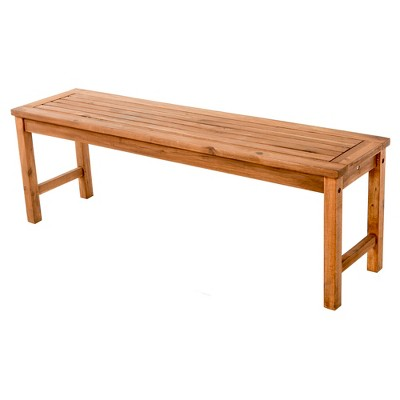 ravenscroft modern boho acacia wood slat top outdoor dining bench brown saracina home