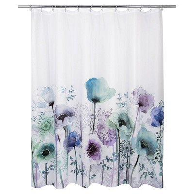 blue poppies shower curtain allure home creations