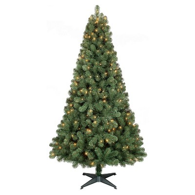 6ft Prelit Artificial Christmas Tree Alberta Spruce Clear