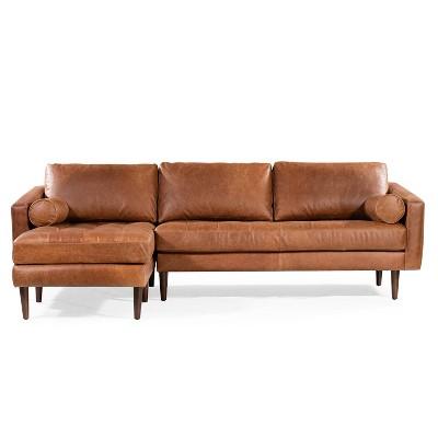florence mid century modern left sectional sofa cognac tan poly bark