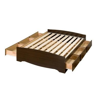 6 drawers mate s queen platform storage bed espresso brown prepac
