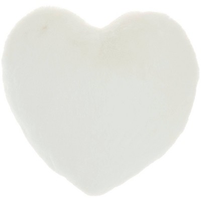 rabbit faux fur heart throw pillow white mina victory