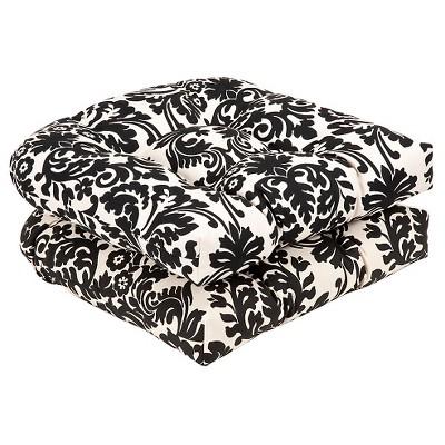outdoor 2 piece chair cushion set black white floral