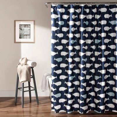 whale shower curtain navy lush decor