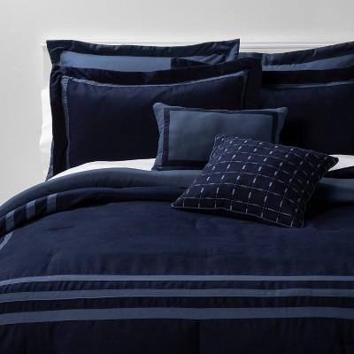 queen 8pc sanford comforter set navy blue threshold