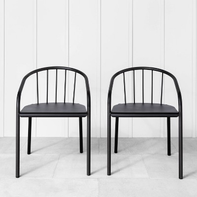 2pk indoor outdoor patio stacking chair set black hearth hand with magnolia furniture