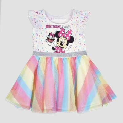 Toddler Girls Disney Mickey Mouse Friends Minnie Mouse Birthday Girl Dress White Target