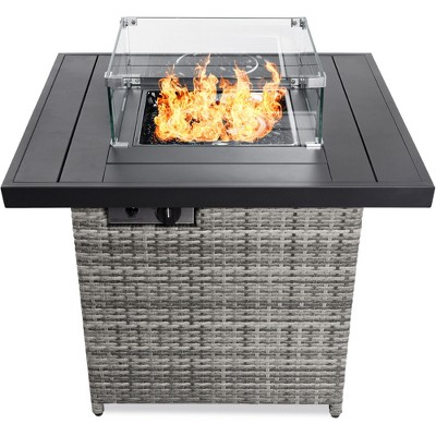 best choice products 32in fire pit table 50 000 btu outdoor wicker patio w wind guard glass beads cover ash gray