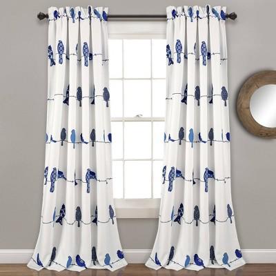 set of 2 95 x52 rowley birds room darkening window curtain panels navy lush decor