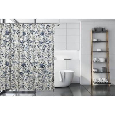 georgian shower curtain blue brown moda at home