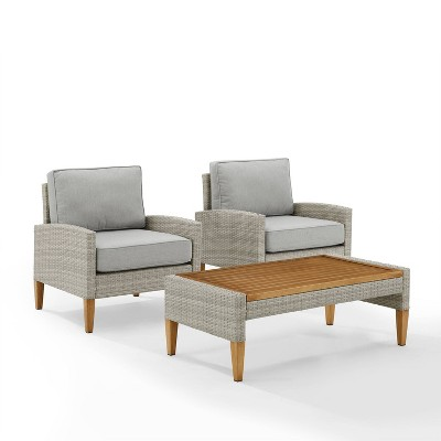 capella outdoor wicker 3 pc set with two chairs and coffee table gray acorn crosley