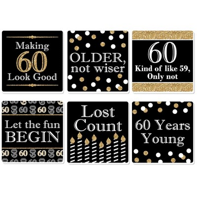 Big Dot Of Happiness Adult 60th Birthday Gold Funny Birthday Party Decorations Drink Coasters Set Of 6 Target
