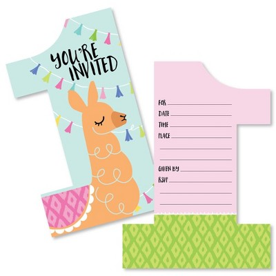 big dot of happiness 1st birthday whole llama fun shaped fill in invites llama first birthday party invitation cards with envelopes set of 12