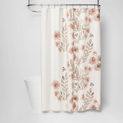 blooms flat weave shower curtain coral threshold
