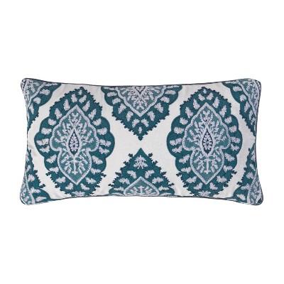 essella indigo crewel medallion decorative throw pillow blue homthreads